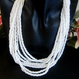 Talbot's Torsade twist necklace seed beads white